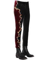 Haider Ackermann - Embroidered Chenille & Leather Pants - Lyst
