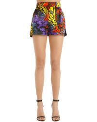 Versace - High Waisted Palms Printed Satin Shorts - Lyst