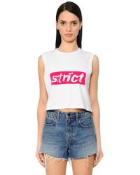 Alexander Wang - Cropped Jersey Tank Top W/ Strict Patch - Lyst