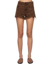 Alexander Wang - Shorts De Denim De Algodón Estampado Leopardo - Lyst