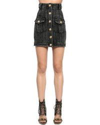 Balmain - High Waist Denim Skirt W/ Gold Buttons - Lyst