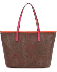 Etro - Paisley Printed Faux Leather Tote Bag - Lyst