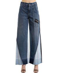 Dolce & Gabbana - Patchwork Logo Wide Leg Denim Jeans - Lyst
