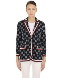 cacddb473 Gucci GG Wallpaper Print Duchesse Bomber in Pink - Lyst