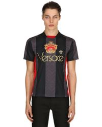 Versace - Crest Striped Techno Football Jersey - Lyst