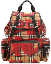 Burberry - Black And Red Check Graffiti Print Vintage Backpack - Lyst