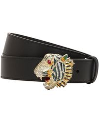 b29236cfe Gucci Leather Belt With Tiger Head in Black - Lyst