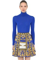Versace - Wool Rib Knit Turtleneck Jumper - Lyst