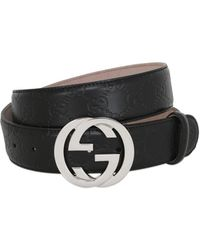 69460c7e3 Lyst - Gucci 40mm Double G Leather Belt in Black for Men