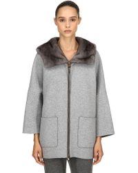 Agnona - Hooded Mink Fur & Cashmere Short Coat - Lyst