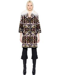 Andrew Gn - Leather Trim Fur Jacquard Coat - Lyst