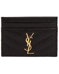 Saint Laurent - Monogram Grained Leather Card Holder - Lyst