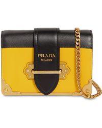 a559634de33e ... promo code for prada small cahier leather shoulder bag lyst d62a4 0f8cd