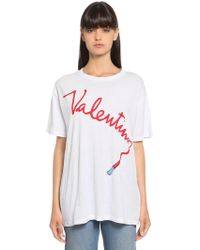 Valentino - Lipstick Printed Cotton Jersey T-shirt - Lyst