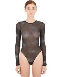 FANTABODY - Crystal Embellished Tulle Bodysuit - Lyst