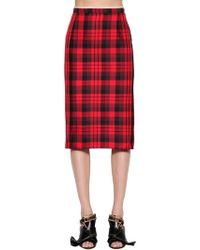 N°21 - Plaid Water Resistant Pencil Skirt - Lyst