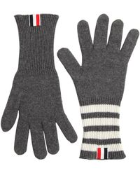 Thom Browne - Cashmere Knit Gloves W/ Stripes - Lyst