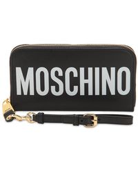 Moschino - Logo Printed Leather Wallet - Lyst