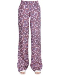 Theory - Mitrana Printed Silk Trousers - Lyst