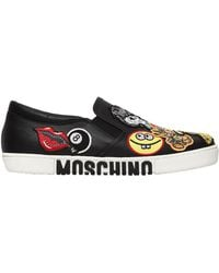 Moschino - 20mm Patches Leather Slip-on Sneakers - Lyst
