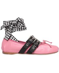 Miu Miu - 10mm Buckled Leather Ballerina Flats - Lyst