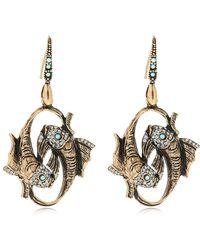 Alcozer & J - Fish Brass Earrings - Lyst
