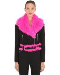 Jeremy Scott - Wool Biker Jacket W/ Faux Fur Details - Lyst