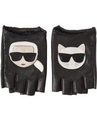 """Karl Lagerfeld - Fingerlose Handschuhe Aus Leder """"k/ikonik"""" - Lyst"""