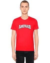 AMI - T-shirt Aus Baumwolljersey Mit Logodruck - Lyst