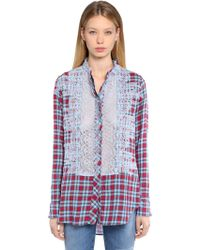 Ermanno Scervino - Cotton Plaid Shirt W/ Lace Details - Lyst