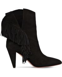 Aquazzura - 85mm Wild Fringed Suede Ankle Boots - Lyst