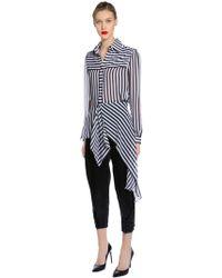 Ronald Van Der Kemp - Striped Silk Crepe De Chine Blouse - Lyst