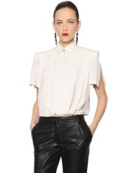 Ronald Van Der Kemp - Pleated Silk Crepe De Chine Kimono Shirt - Lyst