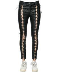 Filles A Papa - Skinny Lace-up Leather Pants - Lyst