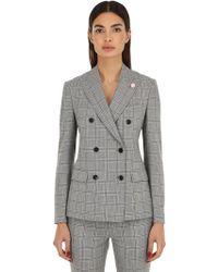 Lardini - Wool Blend Prince Of Wales Jacket - Lyst