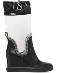 Casadei - 80mm Plexi & Leather Wedge Boots - Lyst