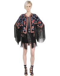 Talitha - Floral Embroidered Silk Georgette Jacket - Lyst