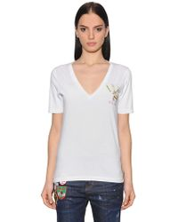 DSquared² - Printed Cotton Jersey T-shirt - Lyst