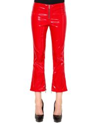 RTA - Flared Faux Patent Leather Pants W/ Zips - Lyst