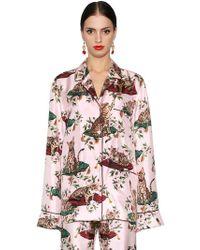 Dolce & Gabbana | Cats & Flowers Printed Silk Twill Shirt | Lyst
