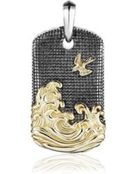 David Yurman - Waves Tag Gold & Silver Pendant - Lyst