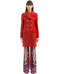 Roberto Cavalli - Double Breasted Wool Coat - Lyst