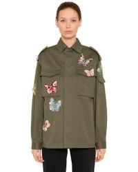 Valentino - Butterfly Cotton Gabardine Field Jacket - Lyst