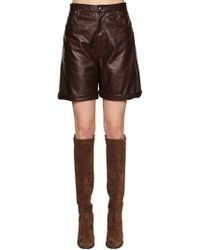 Etro - High Waisted Leather Shorts - Lyst