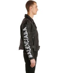 0ca20b2850ed8 Balenciaga - Painted Effect Leather Biker Jacket - Lyst