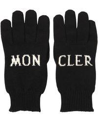 Moncler Intarsia Logo Wool Knit Gloves