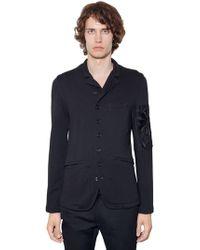 Ann Demeulemeester | Embroidered Cotton Blend Jersey Jacket | Lyst