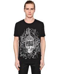 Just Cavalli - Gothic Skull Printed Jersey T-shirt - Lyst