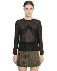 Francesco Scognamiglio - Sheer Silk Georgette & Lace Shirt - Lyst