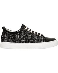 Lanvin - 20mm Tweed & Patent Leather Trainers - Lyst